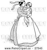 Vector Clip Art of Retro Nanny Carrying a Sad Boy by Prawny Vintage