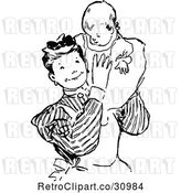 Vector Clip Art of Retro Nanny Holding a Baby by Prawny Vintage