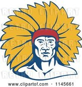 Vector Clip Art of Retro Native American Chief Guy with Yellow Feathers by Patrimonio