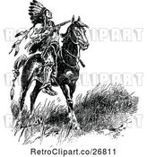 Vector Clip Art of Retro Native American Chief on Horseback by Prawny Vintage