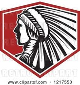 Vector Clip Art of Retro Native American Chief with a Feather Headdress in Profile over a Red Shield by Patrimonio
