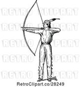 Vector Clip Art of Retro Native American Guy with a Bow by Prawny Vintage
