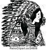 Vector Clip Art of Retro Native American Indian Chief by Prawny Vintage