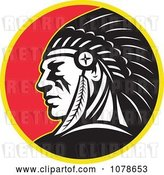 Vector Clip Art of Retro Native American Indian Chief Circle Logo by Patrimonio