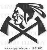 Vector Clip Art of Retro Native American Warrior Face in Profile over Crossed Tomahawks by Patrimonio