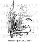 Vector Clip Art of Retro Native Americans in a Canoe by Prawny Vintage