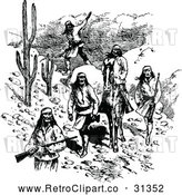 Vector Clip Art of Retro Native Americans in a Desert by Prawny Vintage