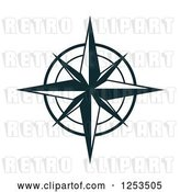 Vector Clip Art of Retro Navy Blue Compass Rose by Vector Tradition SM