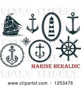 Vector Clip Art of Retro Navy Blue Nautical Anchors and Heraldic Designs by Vector Tradition SM