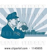 Vector Clip Art of Retro Navy Captain Holding Binoculars Against a Ship and Rays by Patrimonio