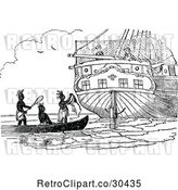Vector Clip Art of Retro Navy Men and Natives on a Boat by Prawny Vintage