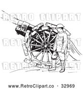 Vector Clip Art of Retro Navy Sailor with a Siege Gun in Black and White by Picsburg