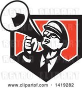 Vector Clip Art of Retro Nerdy Guy Shouting Upwards with a Megaphone in a Black White and Red Shield by Patrimonio