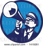 Vector Clip Art of Retro Nerdy Guy Shouting Upwards with a Megaphone in a Blue Circle by Patrimonio