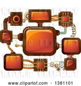 Vector Clip Art of Retro Network of Steampunk Screens by BNP Design Studio