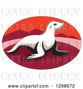 Vector Clip Art of Retro New Zealand Fur Seal on a Red Beach with Mountains in an Oval by Patrimonio