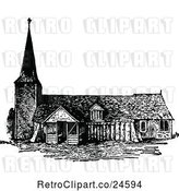 Vector Clip Art of Retro Norman Church in England by Prawny Vintage