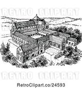 Vector Clip Art of Retro Norman Monastery by Prawny Vintage