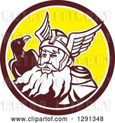 Vector Clip Art of Retro Norse Mythology God Odin with a Crow in a Brown White and Yellow Circle by Patrimonio