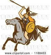 Vector Clip Art of Retro Norse Valkyrie Warrior with a Spear on Horseback 2 by Patrimonio