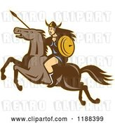Vector Clip Art of Retro Norse Valkyrie Warrior with a Spear on Horseback 3 by Patrimonio
