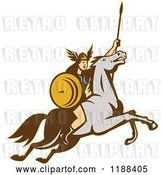 Vector Clip Art of Retro Norse Valkyrie Warrior with a Spear on Horseback 4 by Patrimonio