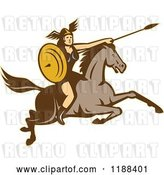 Vector Clip Art of Retro Norse Valkyrie Warrior with a Spear on Horseback 5 by Patrimonio
