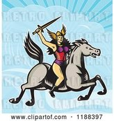 Vector Clip Art of Retro Norse Valkyrie Warrior with a Spear on Horseback Against a Sky by Patrimonio