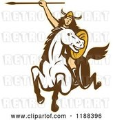 Vector Clip Art of Retro Norse Valkyrie Warrior with a Spear on Horseback by Patrimonio