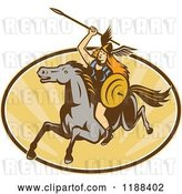 Vector Clip Art of Retro Norse Valkyrie Warrior with a Spear on Horseback over an Oval of Rays 2 by Patrimonio