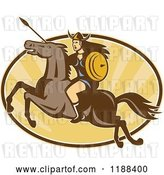 Vector Clip Art of Retro Norse Valkyrie Warrior with a Spear on Horseback over an Oval of Rays 3 by Patrimonio