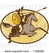 Vector Clip Art of Retro Norse Valkyrie Warrior with a Spear on Horseback over an Oval of Rays 4 by Patrimonio