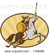 Vector Clip Art of Retro Norse Valkyrie Warrior with a Spear on Horseback over an Oval of Rays 5 by Patrimonio