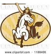 Vector Clip Art of Retro Norse Valkyrie Warrior with a Spear on Horseback over an Oval of Rays by Patrimonio