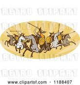 Vector Clip Art of Retro Norse Valkyrie Warriors with Spears on Horseback in an Oval of Rays by Patrimonio
