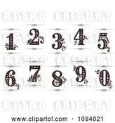 Vector Clip Art of Retro Numbers 1 Through 0 with Flourishes and Rule Dividers by Vector Tradition SM