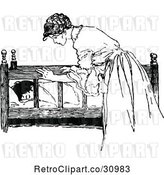 Vector Clip Art of Retro Nurturing Mother Checking on Her Sleeping Child by Prawny Vintage