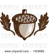 Vector Clip Art of Retro Oak Leaves and an Acorn by Patrimonio