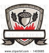 Vector Clip Art of Retro Oak Leaves and an Acorn with Flames in a Shield by Patrimonio