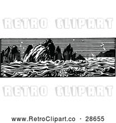 Vector Clip Art of Retro Ocean Panorama by Prawny Vintage