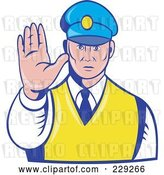 Vector Clip Art of Retro Officer Holding His Hand out by Patrimonio