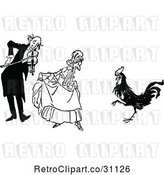 Vector Clip Art of Retro Old Couple and Dancing Rooster by Prawny Vintage