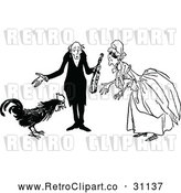 Vector Clip Art of Retro Old Couple and Rooster by Prawny Vintage