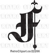 Vector Clip Art of Retro Old English Abc Letter F by BestVector