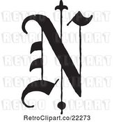 Vector Clip Art of Retro Old English Abc Letter N by BestVector