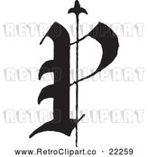 Vector Clip Art of Retro Old English Abc Letter P by BestVector