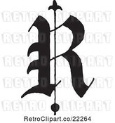 Vector Clip Art of Retro Old English Abc Letter R by BestVector