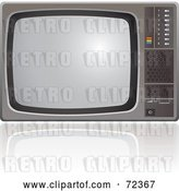 Vector Clip Art of Retro Old Fashioned Silver TV Set with a Reflection by Cidepix