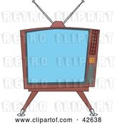 Vector Clip Art of Retro Old Fashioned Square Tv on a Stand by Dennis Holmes Designs
