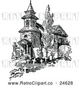 Vector Clip Art of Retro Old French Church and Graves by Prawny Vintage